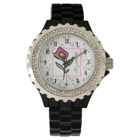 Pink and Green Long Stem Wildflowers Personalized Watch