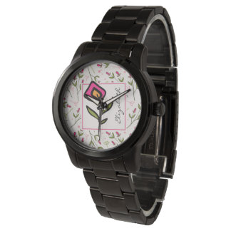 Pink and Green Long Stem Wildflowers Personalized Watches