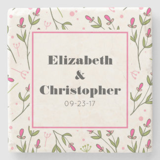 Pink and Green Long Stem Wildflowers Stone Beverage Coaster