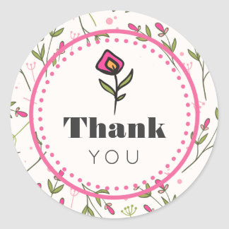 Pink and Green Long Stem Wildflowers Thank You Classic Round Sticker