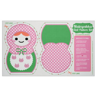 Pink and Green Matryoshka Doll Pattern Kit Fabric