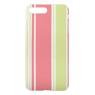 Pink and Green Modern Stripes iPhone 7 Plus Case