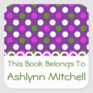 Pink and Green on Purple Polka Dot Personalized Square Sticker