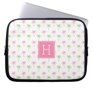 Pink and Green Palm Trees Pattern Laptop Sleeve