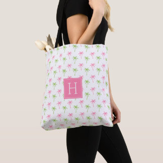 Pink and Green Palm Trees Pattern Tote Bag