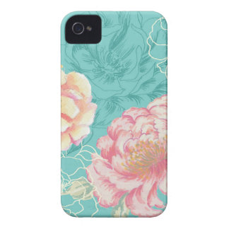 Pink and green peony floral Case-Mate iPhone 4 cases
