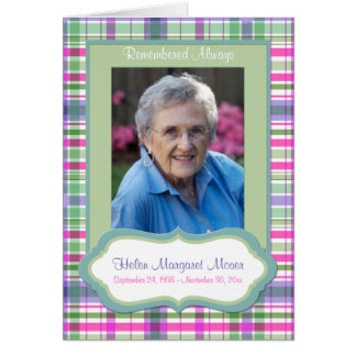 Pink and Green Plaid Memorial Card with Photo