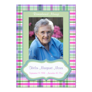 """Pink and Green Plaid Memorial Card with Photo 5"""" X 7"""" Invitation Card"""