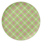 Pink and Green Plaid Plate