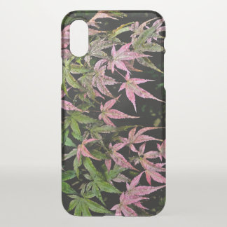 """PINK AND GREEN POINTY  LEAVES WITH WINDSWEPT LOOK"""" iPhone X CASE"""