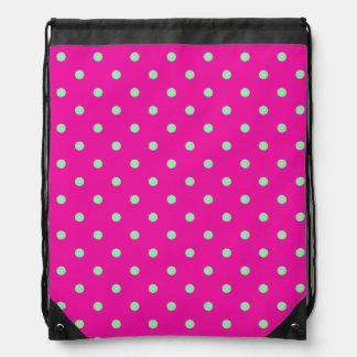 Pink and Green Polka Dot Backpack