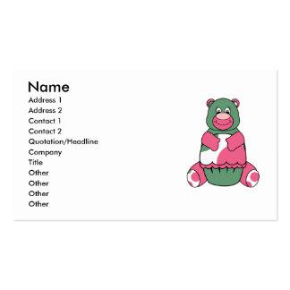 Pink And Green Polka Dot Bear Business Card