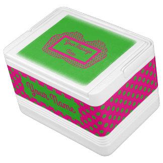 Pink and Green Polka Dot Cooler