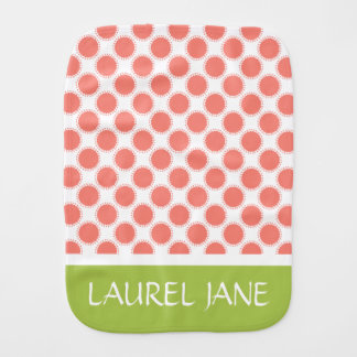 Pink and Green Polka Dot Flower Personalized Burp Cloth