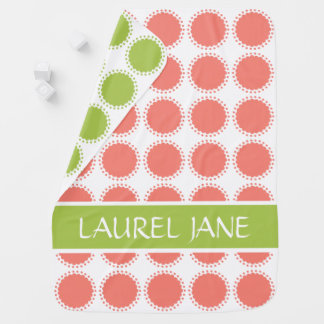 Pink and Green Polka Dot Flowers Personalized Baby Blanket