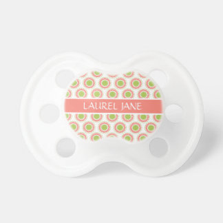 Pink and Green Polka Dot Flowers Personalized Pacifier