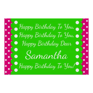 Pink and Green Polka Dot Happy Birthday Song Poster
