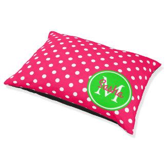 Pink and Green Polka Dot Monogram Pet Bed