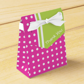 Pink and Green Polka Dot Personalized Thank You Wedding Favor Box