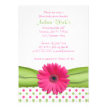 Pink and Green Polka Dots Baby Shower Invitation