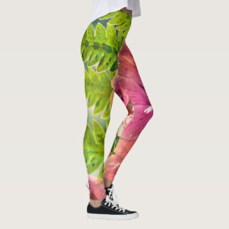 Pink and Green Poppy Leggings