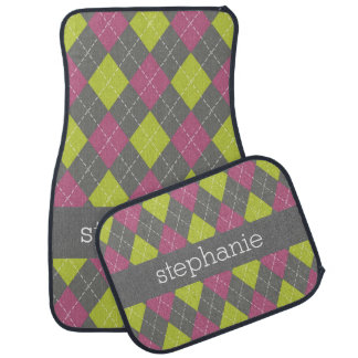 Pink and Green Preppy Argyle Plaid Pattern Floor Mat