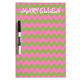 Pink and Green Preppy Chevron Personalized Dry Erase Board