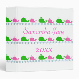 Pink and Green Preppy Whale Love Binder