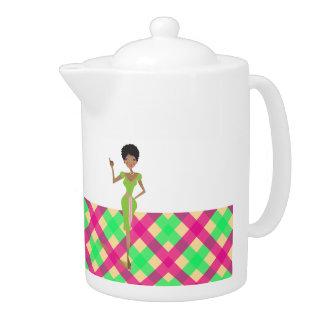 Pink and green Pretty tea pot