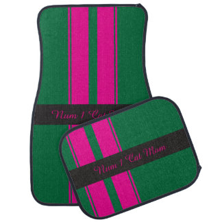 Pink and green racing stripes car liners