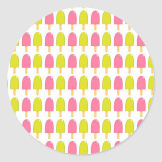 Pink and Green Retro Popsicles Round Sticker