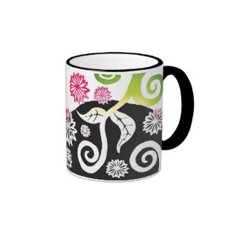 Pink and green shaded effect Artnouveau floral mug