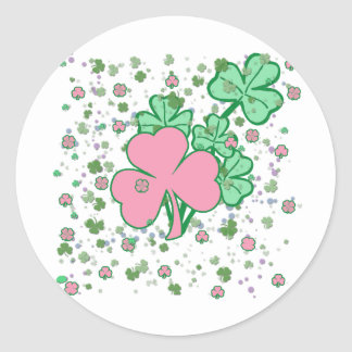 Pink and Green Shamrocks Classic Round Sticker