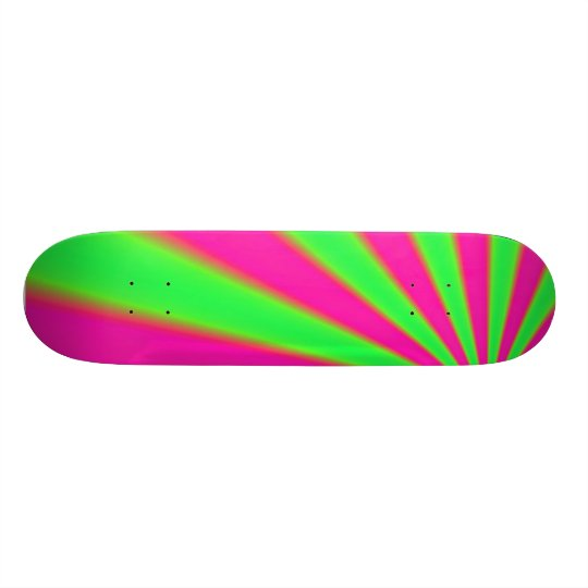 Pink and green skate board deck