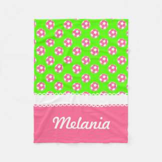 Pink and Green Soccer Balls Personalized Blanket