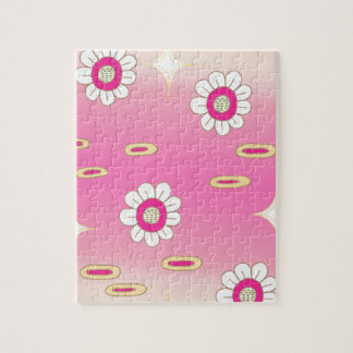 Pink and green sparkly floral pattern jigsaw puzzle