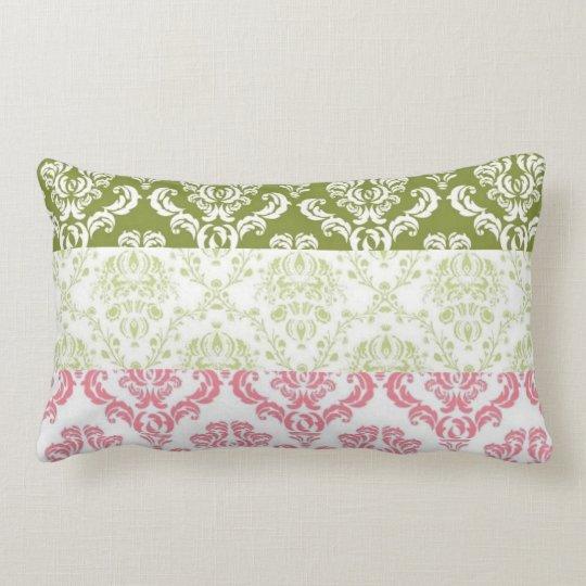 Pink and Green Stripe Damask Lumbar Pillow