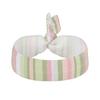 Pink and Green Stripe Hair Tie in Spring Shades
