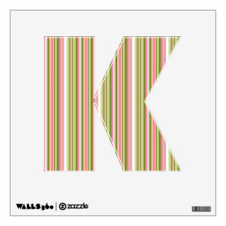 Pink and Green Stripe Letter K in Spring Shades Wall Sticker