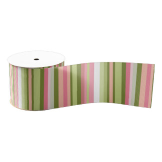 Pink and Green Stripe Ribbon in Pastel Shades Grosgrain Ribbon