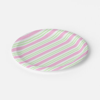 Pink and Green Striped Paper Plate