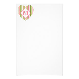 Pink and Green Stripes Personalized Monogram Stationery