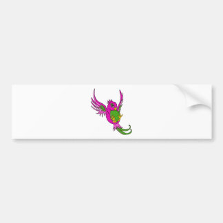 Pink and Green Swallow Bumper Sticker
