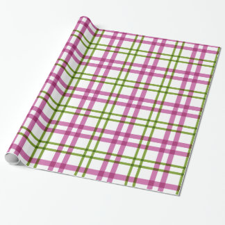 Pink and Green Tartan Pattern Wrapping Paper