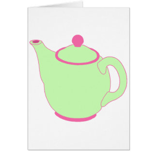 Pink and Green Teapot Card