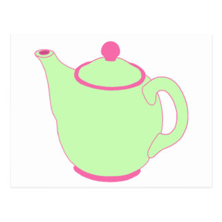 Pink and Green Teapot Post Card