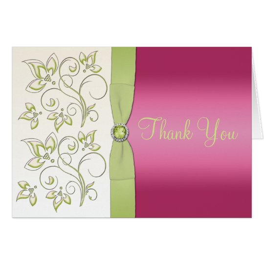 Pink and Green Thank You Note Card