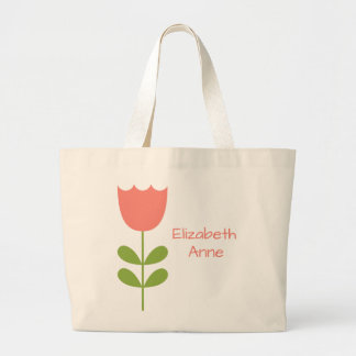 Pink and Green Tulip Personalized Toy Bag