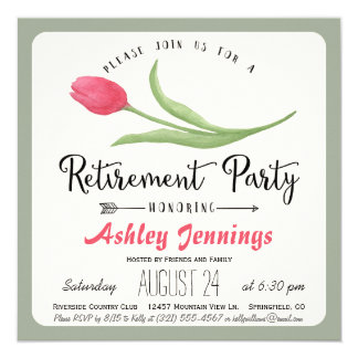 Pink and Green Tulip Retirement Party Invitation