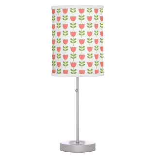 Pink and Green Tulips on White Table Lamp